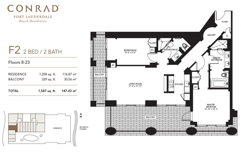 Conrad 2 Bed, 2 Bath with Balcony