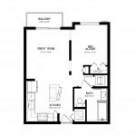 Metropolitan Burgundy Studio Apartment