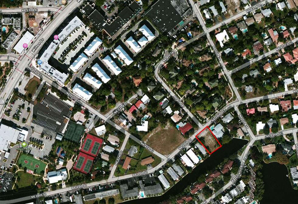Aerial View of Town home Lot in Wilton Manors