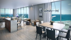 Sabbia Condo Living Room Rendering