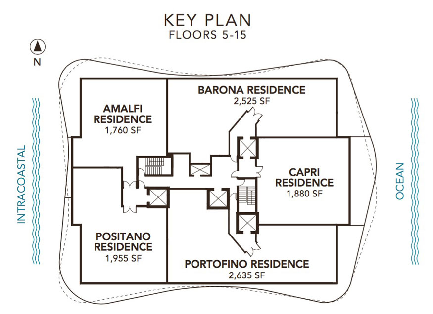 Sabbia Beach Floor Key Plan