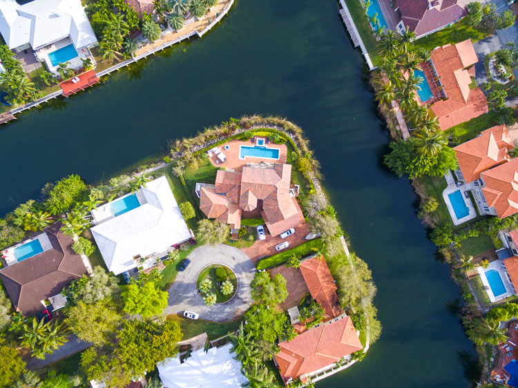 Aerial View of Canal Homes