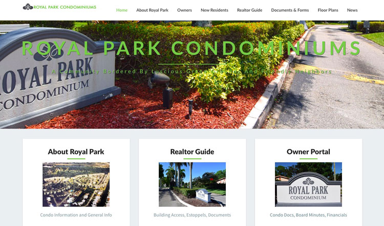 Royal Park Condos Web Site Example