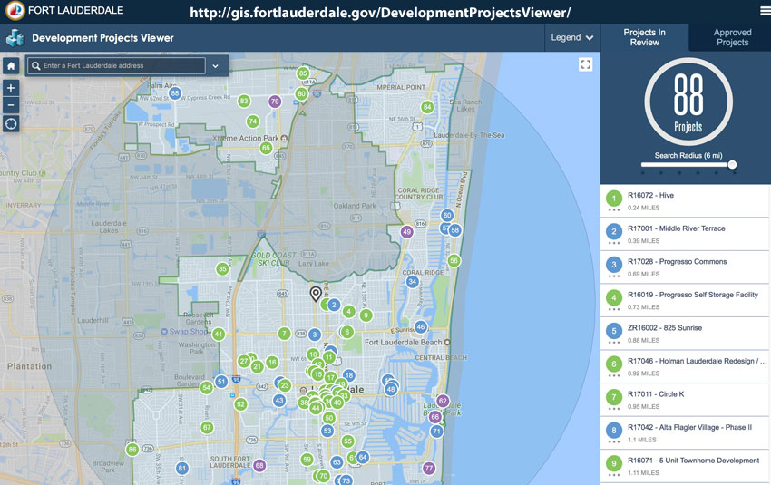 Ft. Lauderdale New Development Map Screenshot
