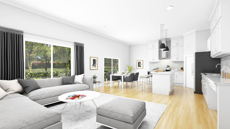 Oakland Terrace Living Rendering
