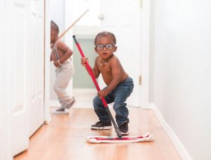 Kids Cleaning Dirty Floors